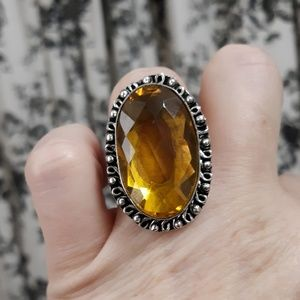 New Citrine Silver Statement Ring. Size 8.25